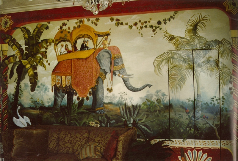 Hand painted murals fort myers florida martha j dodd for Elephant wall mural
