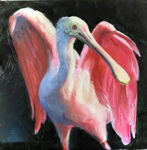 A painting of a roseate spoonbill holding up its pink wings like an angel. The background is a dark green.