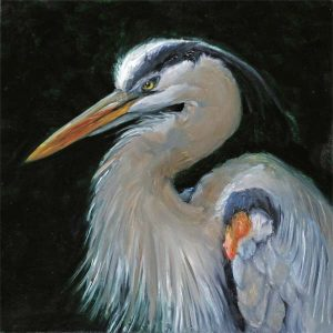 a painting of the head and upper torso of A Great Blue heron
